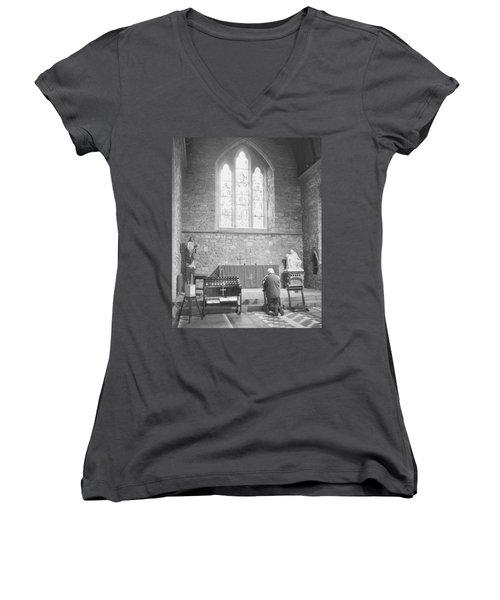 Women's V-Neck T-Shirt (Junior Cut) featuring the photograph Prayer by Hugh Smith