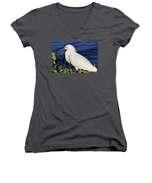 Profile Of A Snowy Egret Women's V-Neck