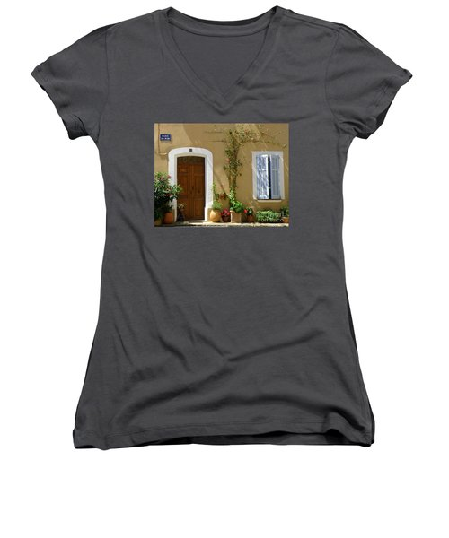 Provence Door 3 Women's V-Neck T-Shirt (Junior Cut) by Lainie Wrightson
