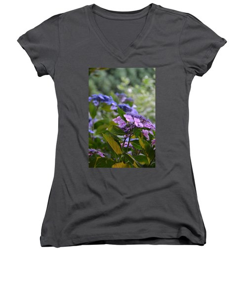Purple And Green Women's V-Neck T-Shirt