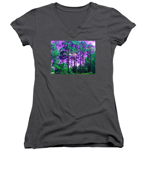 Women's V-Neck T-Shirt (Junior Cut) featuring the photograph Purple Sky by George Pedro