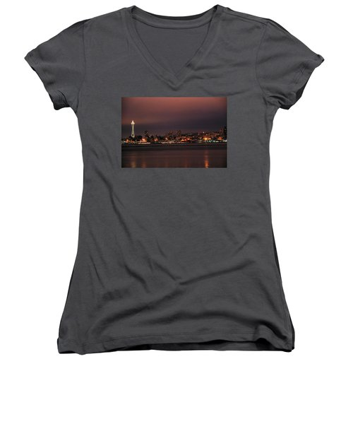 Purple Sky Morning Women's V-Neck (Athletic Fit)