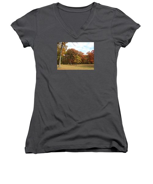 Quiet Forest 2 Women's V-Neck T-Shirt (Junior Cut) by Cedric Hampton