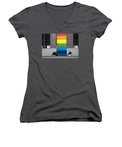 Women's V-Neck T-Shirt (Junior Cut) featuring the photograph Rainbow Banner Building by Kathleen Grace