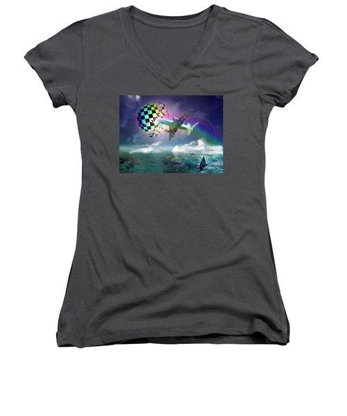 Women's V-Neck T-Shirt (Junior Cut) featuring the digital art Rainbow Set Free by Rosa Cobos