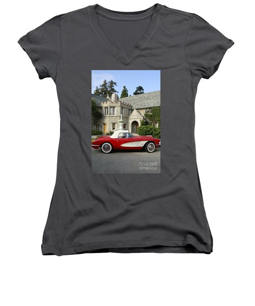 Red Corvette Outside The Playboy Mansion Women's V-Neck T-Shirt