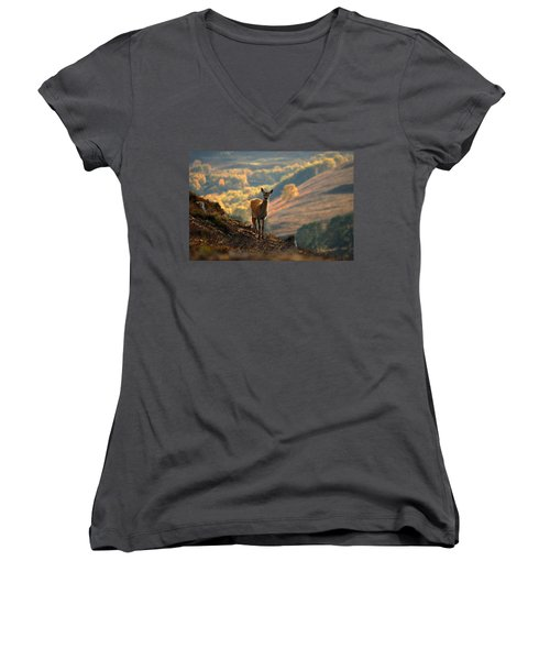 Red Deer Calf Women's V-Neck