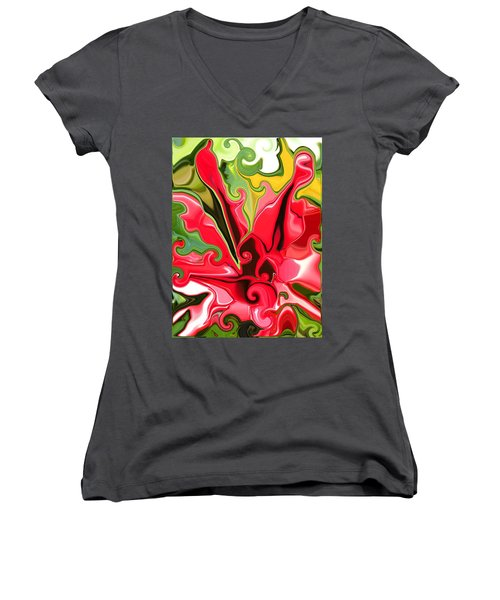 Red Fantasy Lily Women's V-Neck T-Shirt