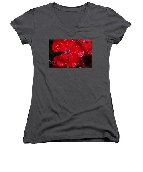 Red Women's V-Neck T-Shirt