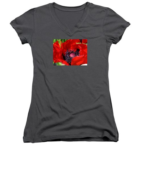 Women's V-Neck T-Shirt (Junior Cut) featuring the photograph Red Poppy Close Up by Bruce Bley