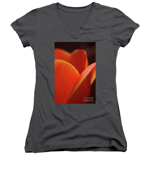 Women's V-Neck T-Shirt (Junior Cut) featuring the photograph Red Tulip by Jeannette Hunt