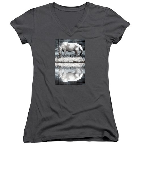 Women's V-Neck T-Shirt (Junior Cut) featuring the digital art Reflecting Dreams by Mary Almond