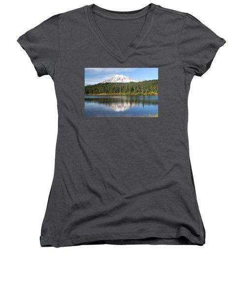 Reflection Lake - Mt. Rainier Women's V-Neck T-Shirt