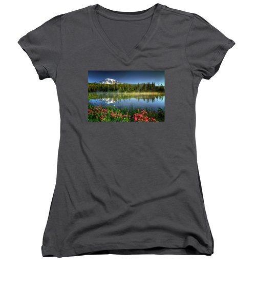 Reflection Lakes Women's V-Neck T-Shirt (Junior Cut) by William Lee