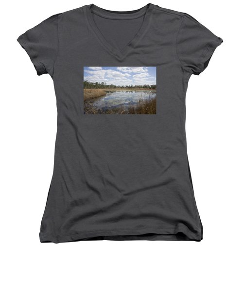Women's V-Neck T-Shirt (Junior Cut) featuring the photograph Reflections by Lynn Palmer