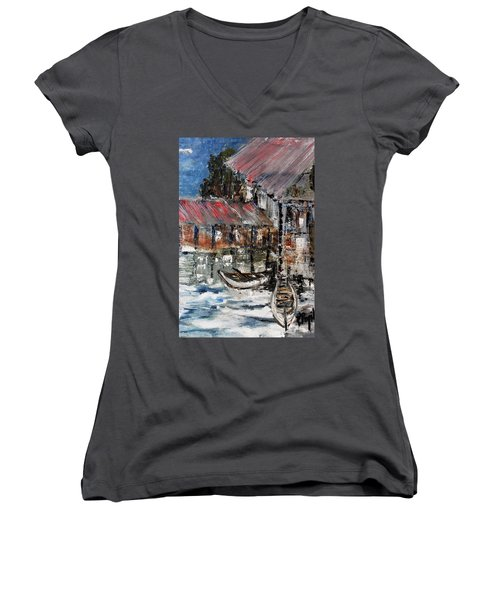 Women's V-Neck T-Shirt (Junior Cut) featuring the painting Resting by Evelina Popilian