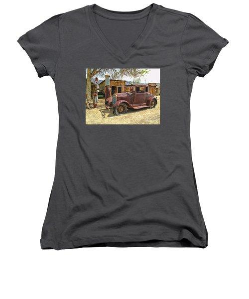 Retired Model T Women's V-Neck T-Shirt (Junior Cut) by Jason Abando