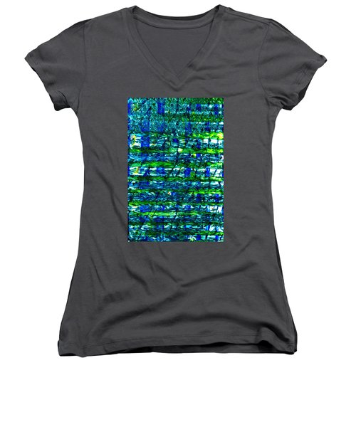 Women's V-Neck T-Shirt (Junior Cut) featuring the mixed media Rice Harvest by Terence Morrissey