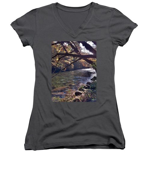 Women's V-Neck T-Shirt (Junior Cut) featuring the photograph Rivee View by Janice Spivey