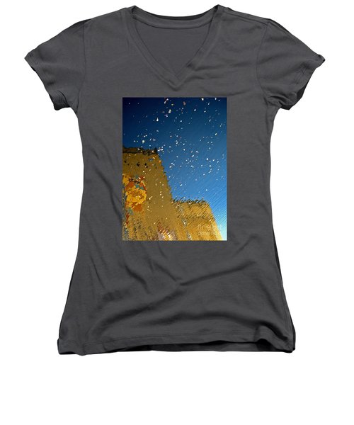 Women's V-Neck T-Shirt (Junior Cut) featuring the photograph River Crossing Border Crossing by Andy Prendy