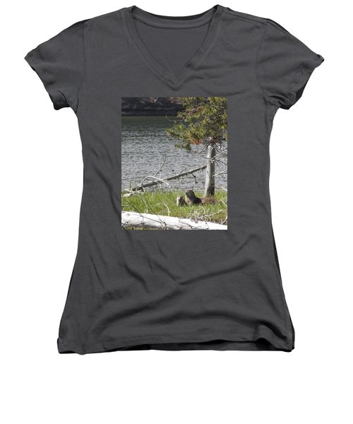 Women's V-Neck T-Shirt (Junior Cut) featuring the photograph River Otter by Belinda Greb