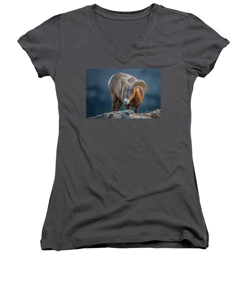 Rocky Mountain Big Horn Ram Women's V-Neck (Athletic Fit)
