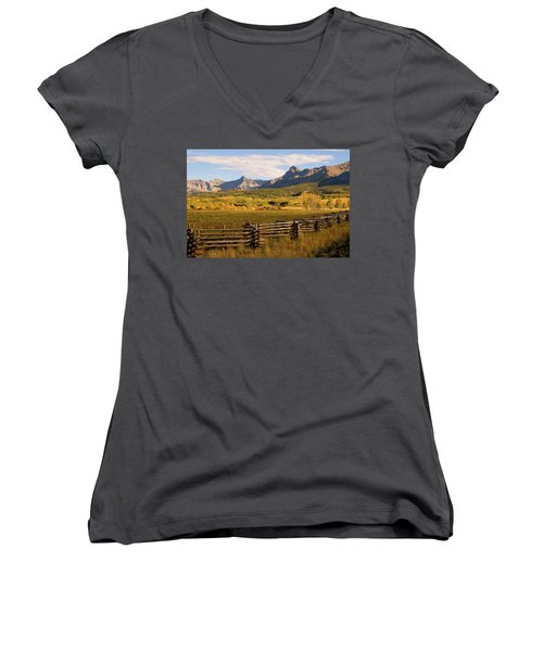 Rocky Mountain Ranch Women's V-Neck T-Shirt (Junior Cut) by Steve Stuller
