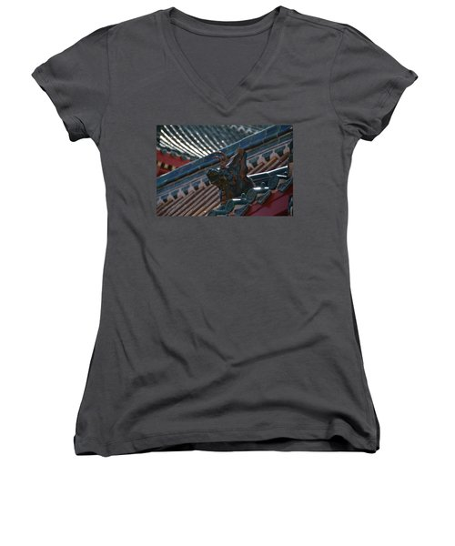 Rooftop Dragon Women's V-Neck (Athletic Fit)