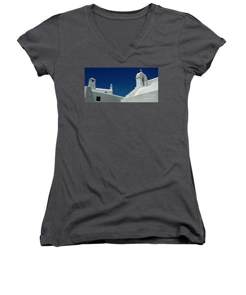 Rooftops Of Mykonos Women's V-Neck T-Shirt (Junior Cut) by Vivian Christopher
