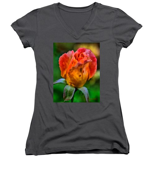 Women's V-Neck T-Shirt (Junior Cut) featuring the painting Rose by Lynne Jenkins