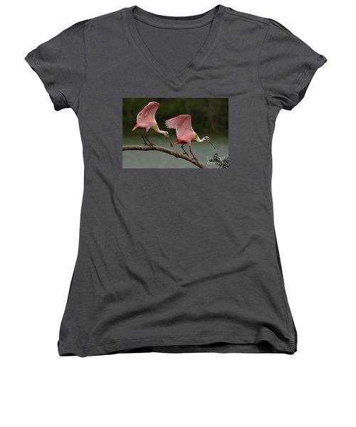 Rosiette Spoonbills Women's V-Neck T-Shirt