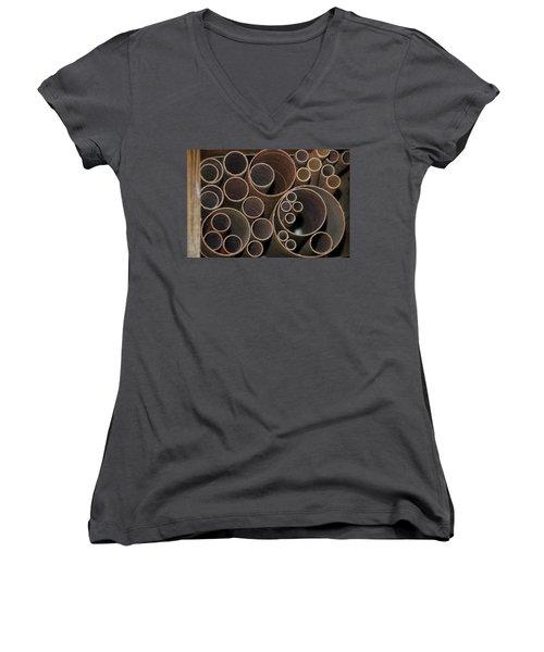 Round Sandpaper Women's V-Neck T-Shirt (Junior Cut) by Randy J Heath