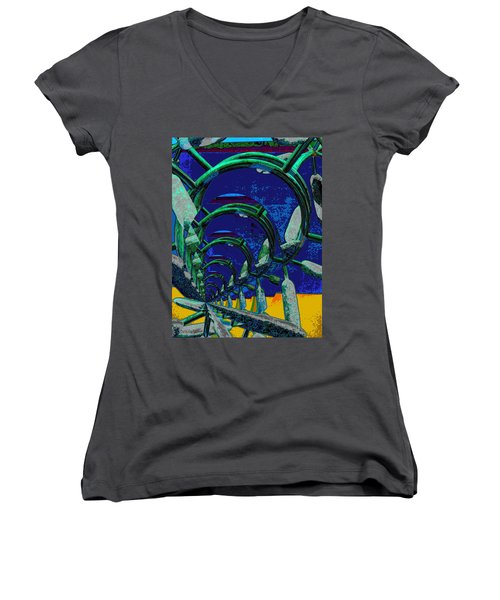 Route 66 2050 Women's V-Neck T-Shirt (Junior Cut) by Alec Drake