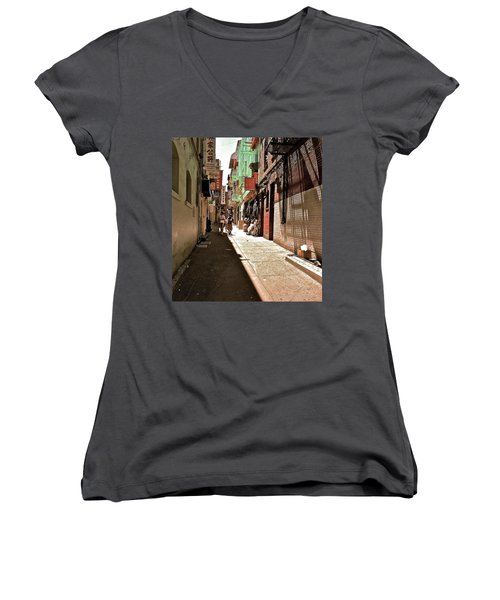 Women's V-Neck T-Shirt (Junior Cut) featuring the photograph San Fran Chinatown Alley by Bill Owen