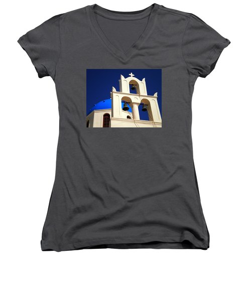 Women's V-Neck T-Shirt (Junior Cut) featuring the photograph santorini Church Greee by Colette V Hera  Guggenheim