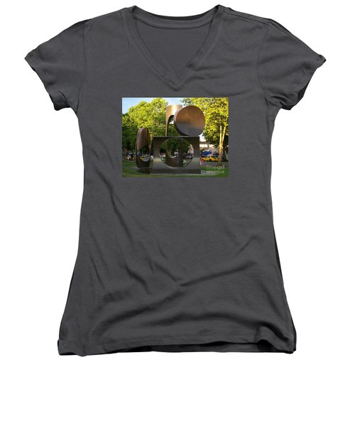 Women's V-Neck T-Shirt (Junior Cut) featuring the photograph Seattle Sculpture by Chalet Roome-Rigdon