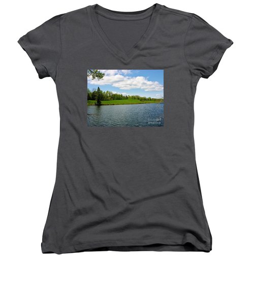 Women's V-Neck T-Shirt (Junior Cut) featuring the photograph Sky And Water Almost Meet by Sherman Perry