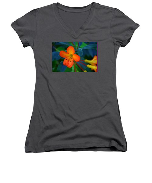 Women's V-Neck T-Shirt (Junior Cut) featuring the photograph Small Orange Flower by Tikvah's Hope