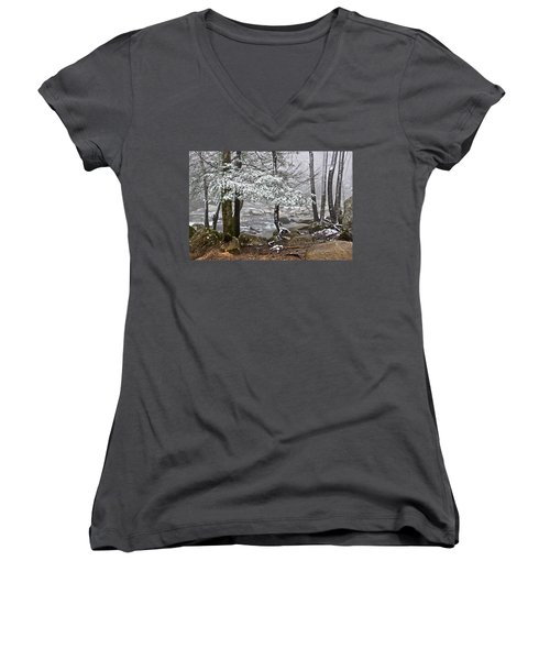 Smoky Mountain Stream Women's V-Neck (Athletic Fit)