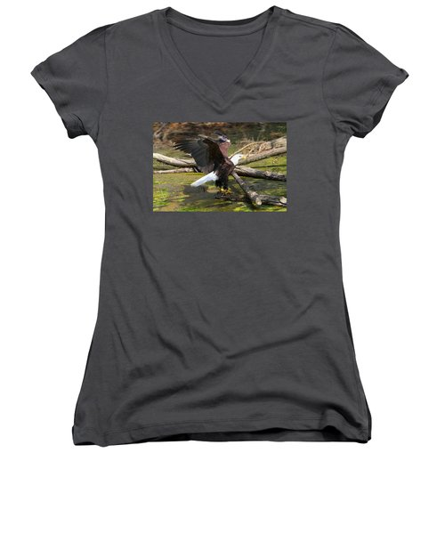 Women's V-Neck T-Shirt (Junior Cut) featuring the photograph Soaring Eagle by Elizabeth Winter