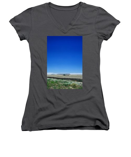 Women's V-Neck T-Shirt (Junior Cut) featuring the photograph Somewhere On Hwy 285 Number One by Lon Casler Bixby