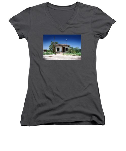 Women's V-Neck T-Shirt (Junior Cut) featuring the photograph Somewhere On The Old Pecos Highway Number 3 by Lon Casler Bixby