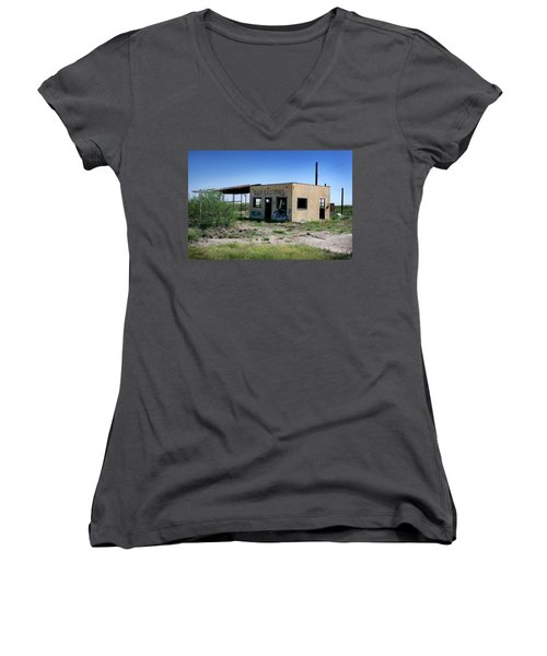 Women's V-Neck T-Shirt (Junior Cut) featuring the photograph Somewhere On The Old Pecos Highway Number 7 by Lon Casler Bixby