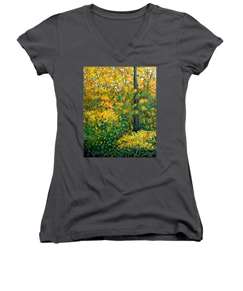 Southern Woods Women's V-Neck T-Shirt (Junior Cut) by Jeanette Jarmon