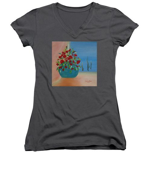 Southwestern 1 Women's V-Neck T-Shirt (Junior Cut) by Judith Rhue