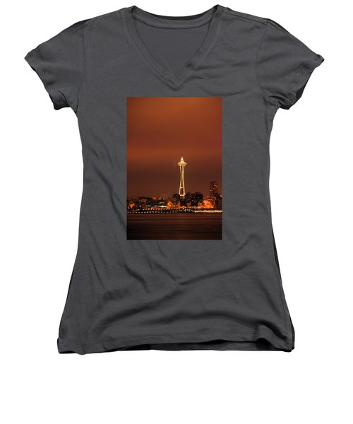 Space Needle Morning Women's V-Neck T-Shirt (Junior Cut)