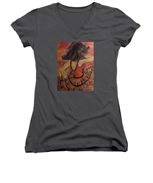 Spanish Dancer Women's V-Neck T-Shirt (Junior Cut) by Lori  Lovetere