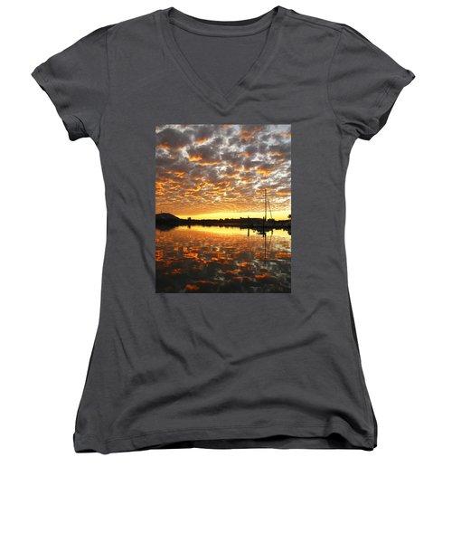 Spectacular Mazatlan Sunset Women's V-Neck T-Shirt
