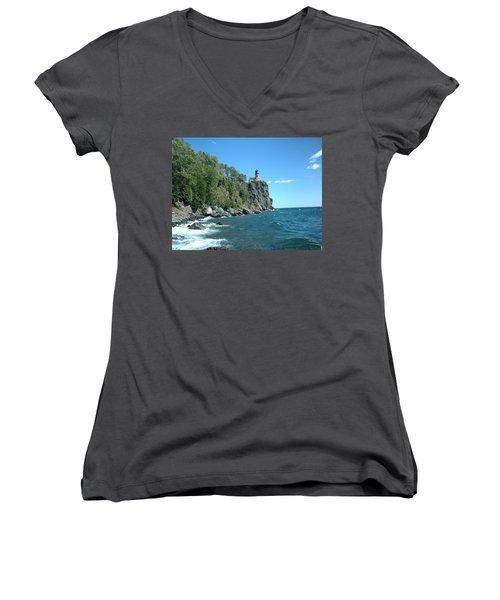 Women's V-Neck T-Shirt (Junior Cut) featuring the photograph Split Rock by Bonfire Photography