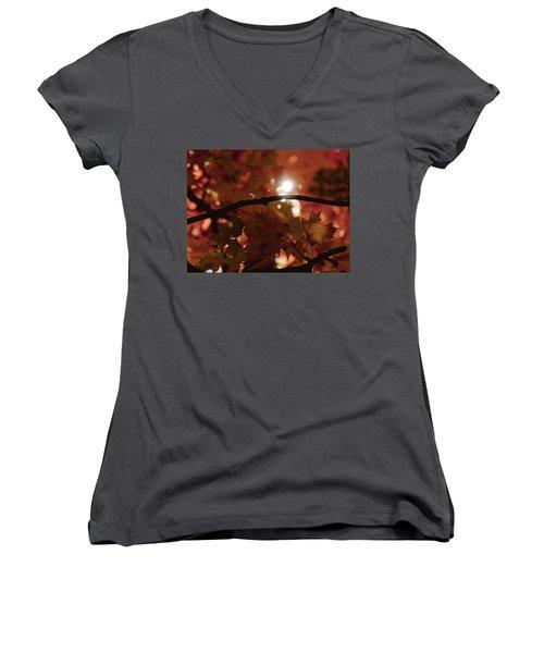 Women's V-Neck T-Shirt (Junior Cut) featuring the photograph Spotlight On Fall by Cheryl Baxter
